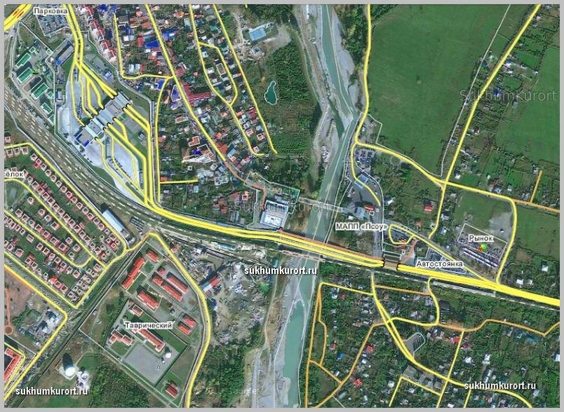 КПП Псоу на карте